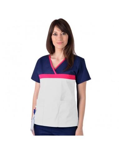 Bluza ColorMIX din bumbac alb/bleumarin