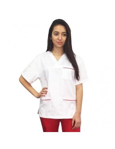 Bluza CH alba cu insertii rosii la buzunare