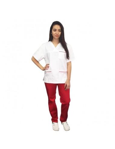 Costum alb - rosu