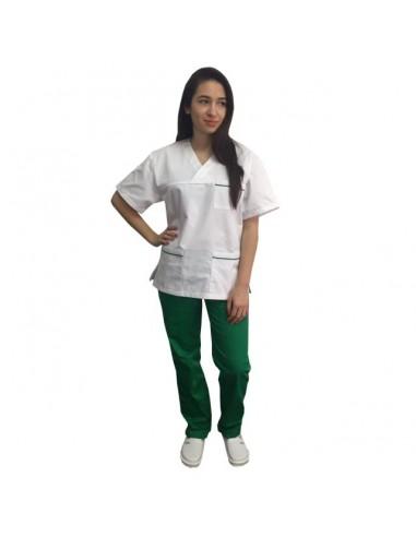 Costum alb - verde